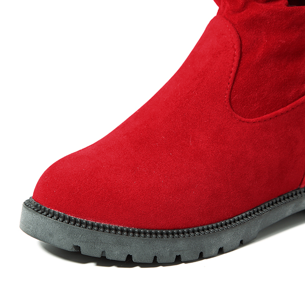 Women Mid-Calf Boots Suede Casual Cotton Outdooors Flats