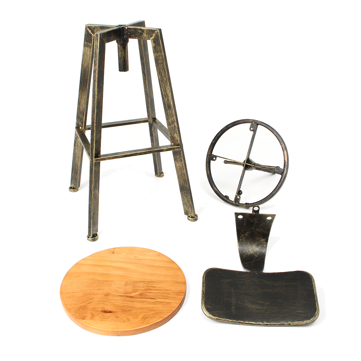 Adjustable Wood Iron Bar Stool Retro Industrial 360 Degree Rotating Lift Chair Bar Decorations