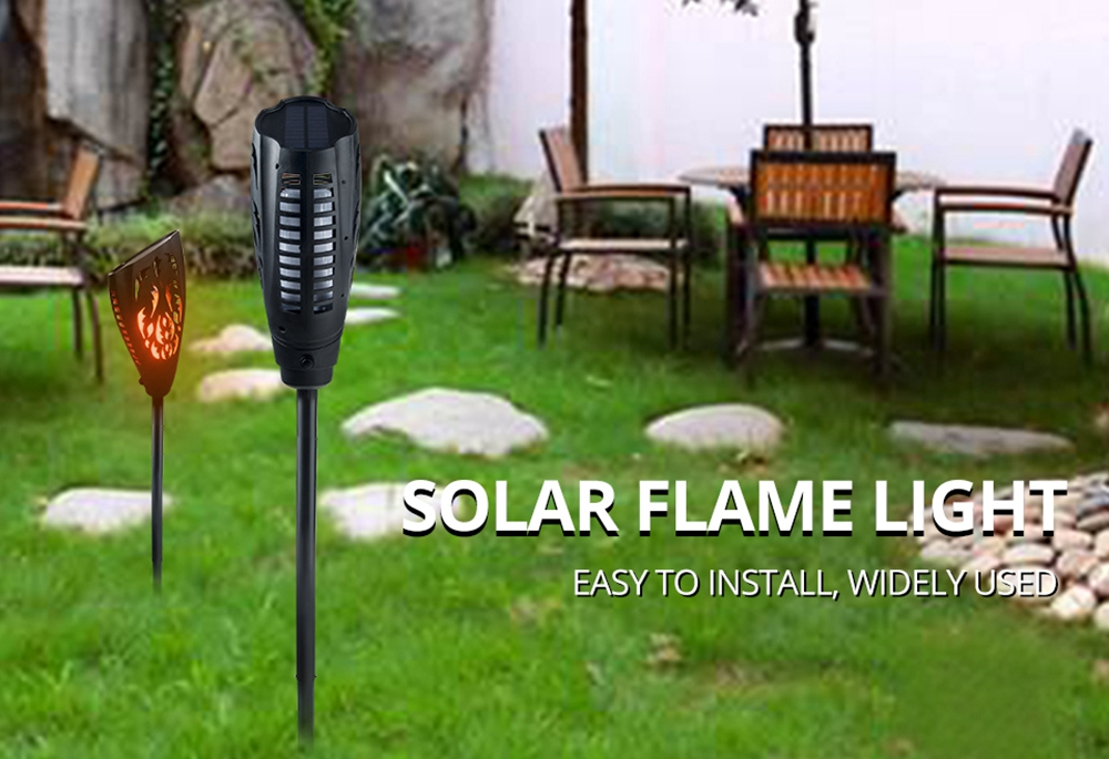 Solar 5W LED Warm White Flame Light Waterproof For Outdoor Garden Path Lawn Wall Landscape Lamp