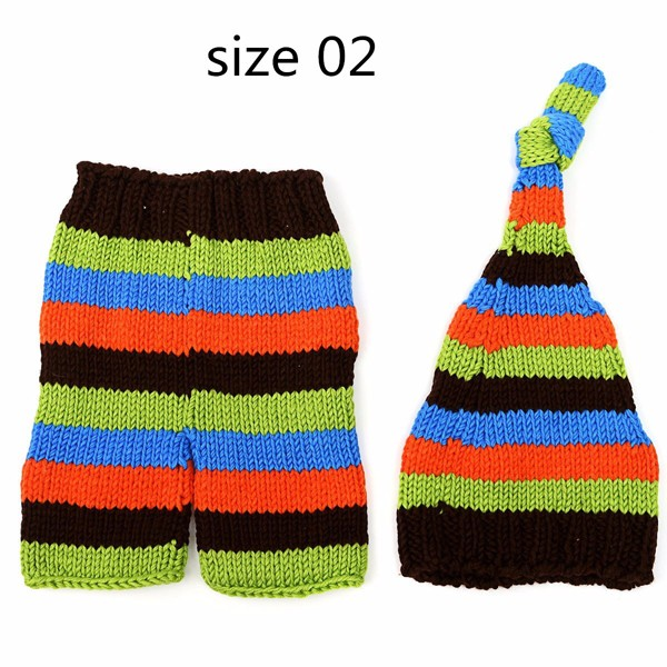 Baby Kids Crochet Knit Studio Outfits Photographed Props Hat Pants Sweater Set