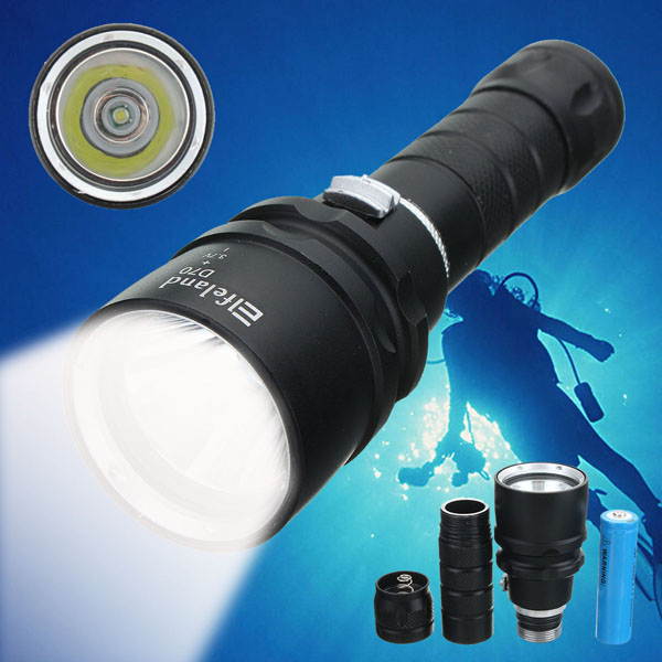 Elfeland L2 2000LM High Power Waterproof Diving LED Flashlight +18650