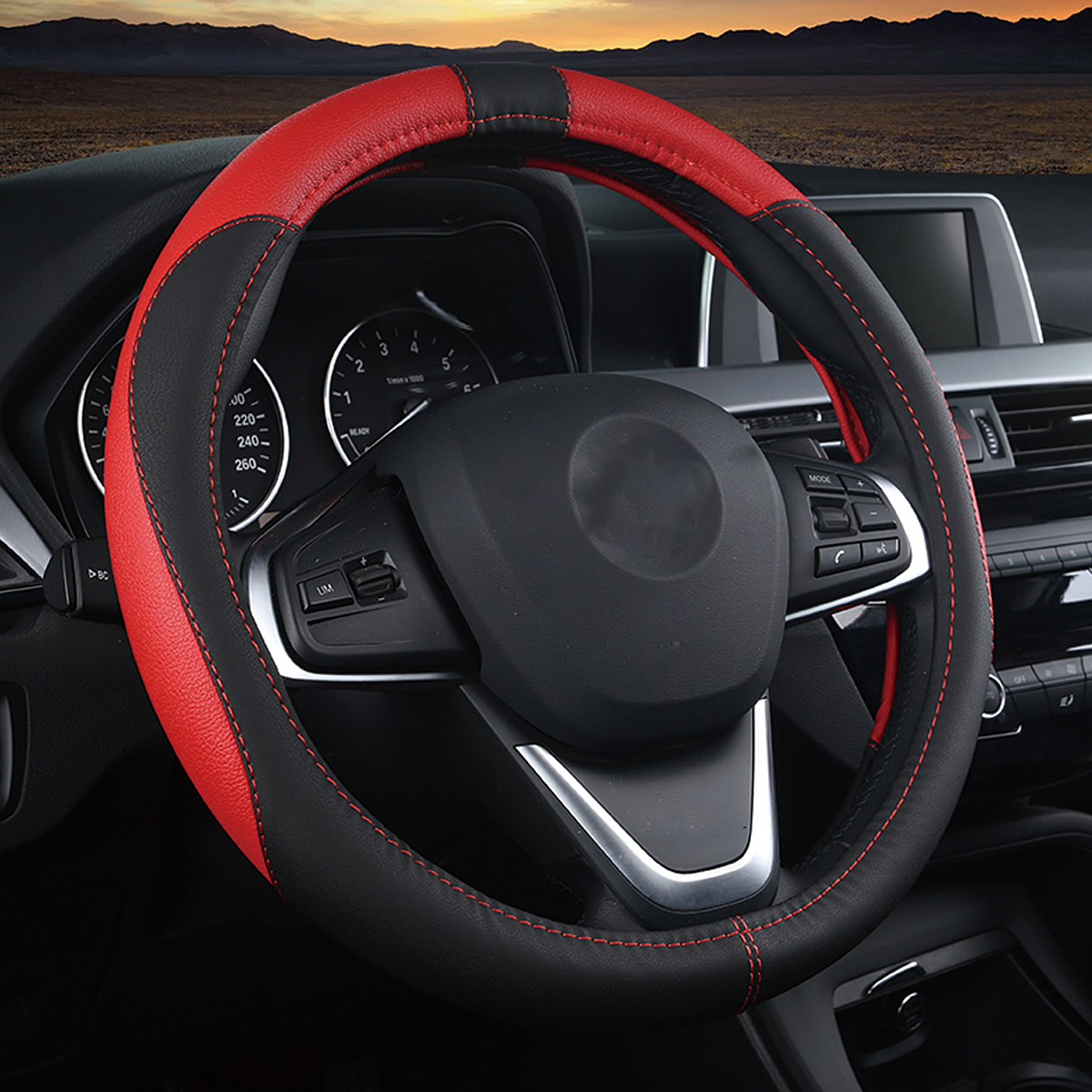 Breathable 38cm PU Leather Non-slip Car Steering Wheel Covers for Toyota/Honda/Nissan/Mazda