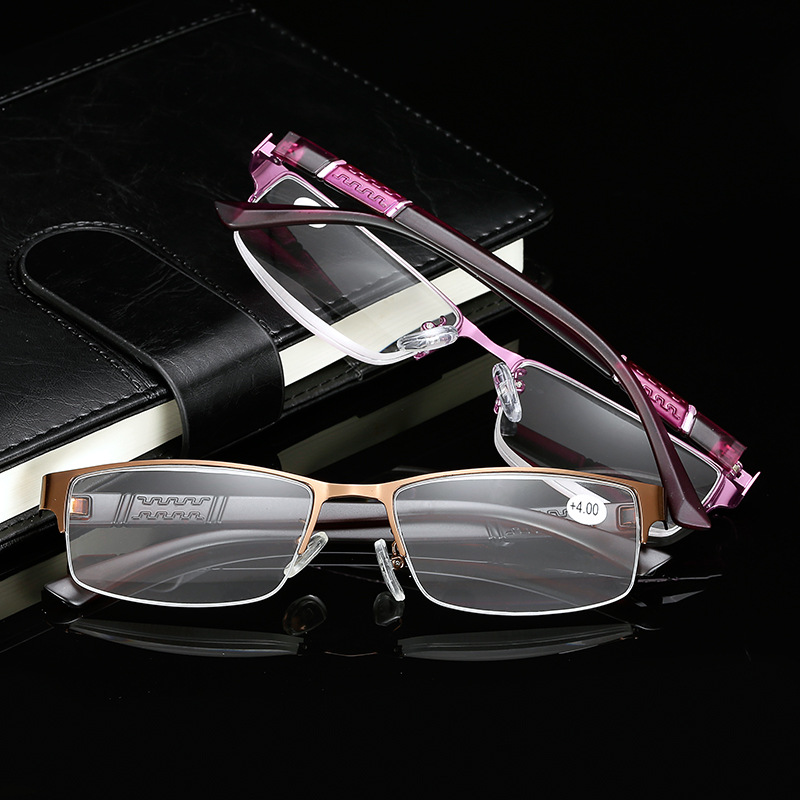 Stainless Steel Resin Lens Reading Glasses Half Frame