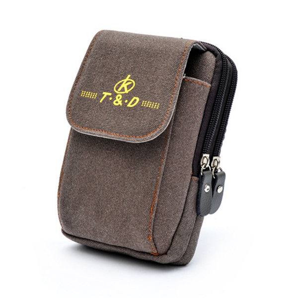 Men Canvas Tactical Waist Bag Outdooors Sport Leather Belt Cell Phone Case