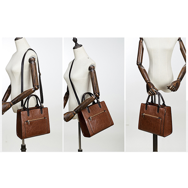 Vintage Faux Leather Tote Handbag Shoulder Bag Crossbody Bag