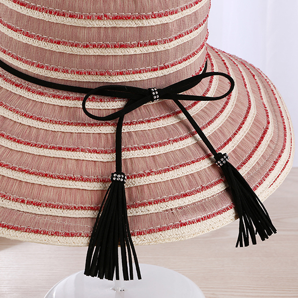 Summer Striped Wide Brim Folding Portable Sun Hat