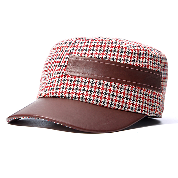 Mens Women Patchwork Lattice Pattern Flat Top Hat Casual Outdoor Army Military Visor Hats