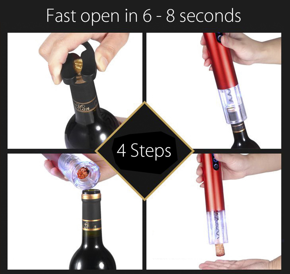 Loskii KC-40 Electric Wine Bottle Opener Automatic Cordless Wine Opener with Foil Cutter and Vacuum Stopper