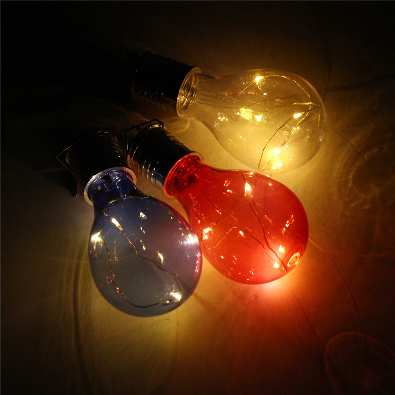 Solar Powered Warm White Waterproof Outdoor Garden Fairy Lighting Bulb Camping Hanging Lamp