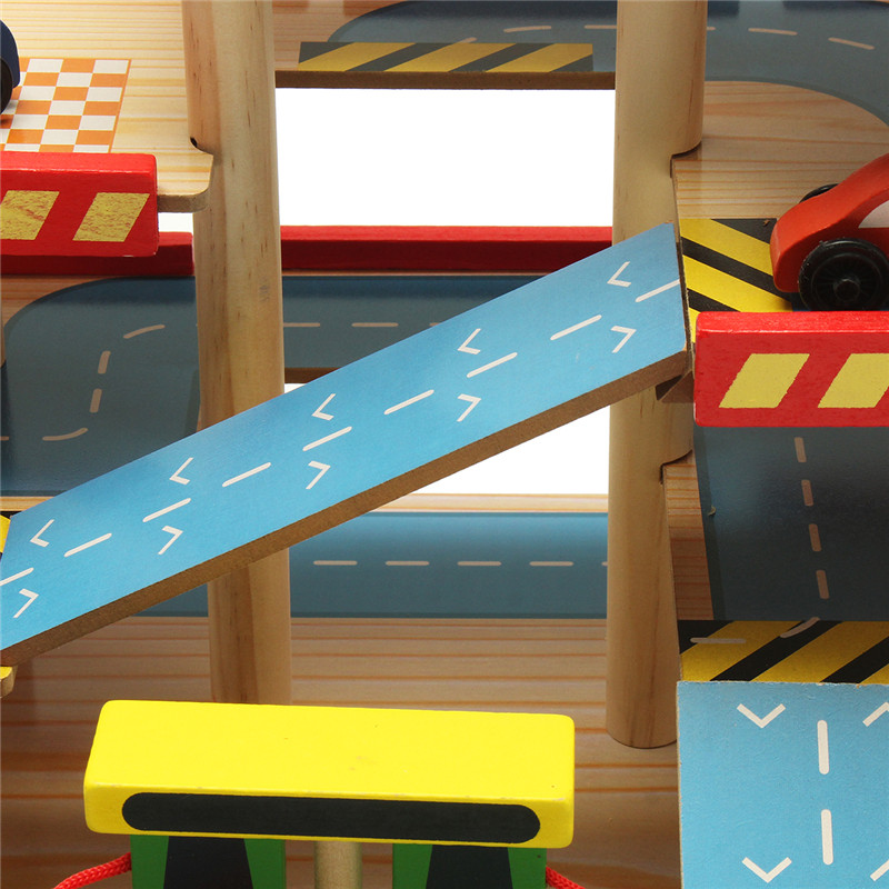Assembling Simulation Large Stereo Three Layer Wooden Car Parking Lot Track Set For Kids Toys Gift