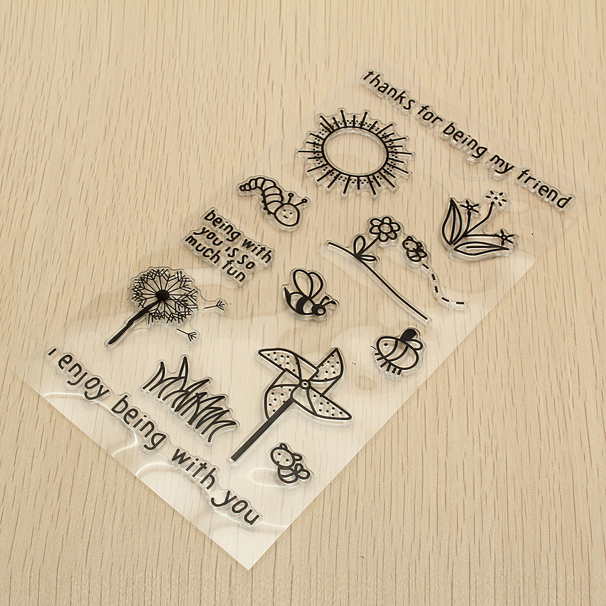 Butterfly Flower Silicone Transparent Clear Stamp DIY Scrapbooking Album Seal 20x11cm