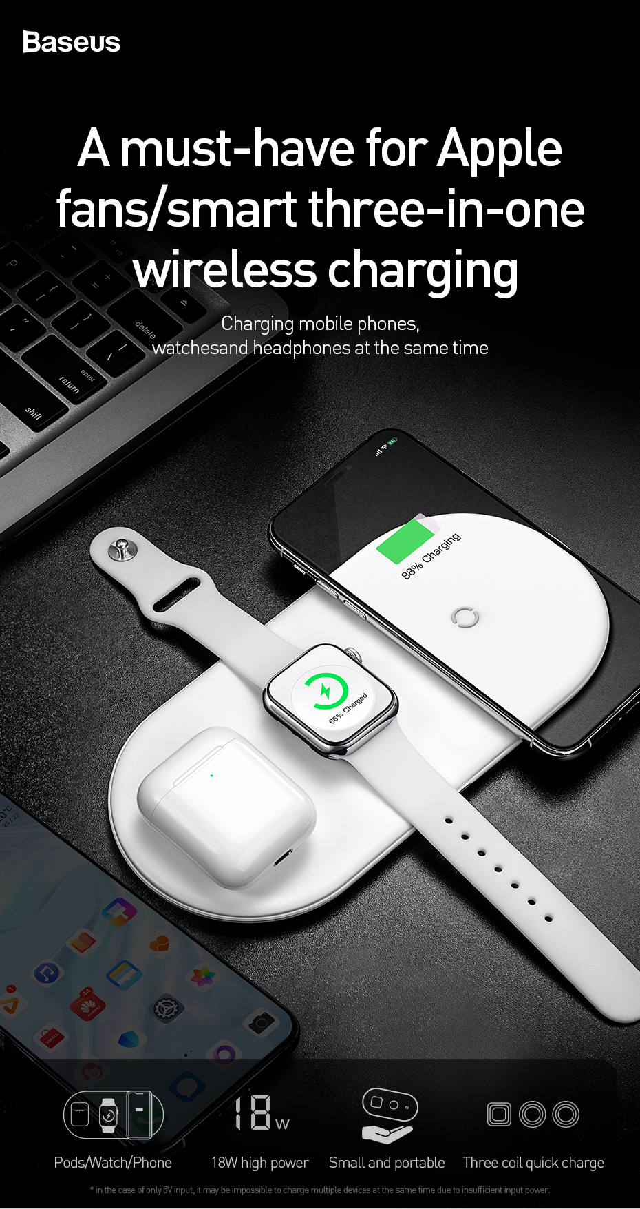Baseus 3 in 1 Charging Pad Wireless Charger For iPhone X XS MAX XR 8 for Airpods 2019 Apple Watch 4 3 2