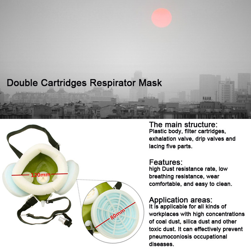 Industrial Gas Chemical Anti-Dust Spray Paint Respirator Face Mask Filter Glasses Goggles Set Twin C