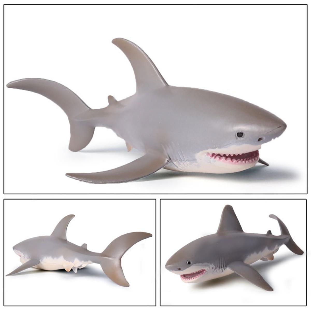 PVC White Shark Model Toys Ocean Sea Sealife Animal Figure Children Kids Gift