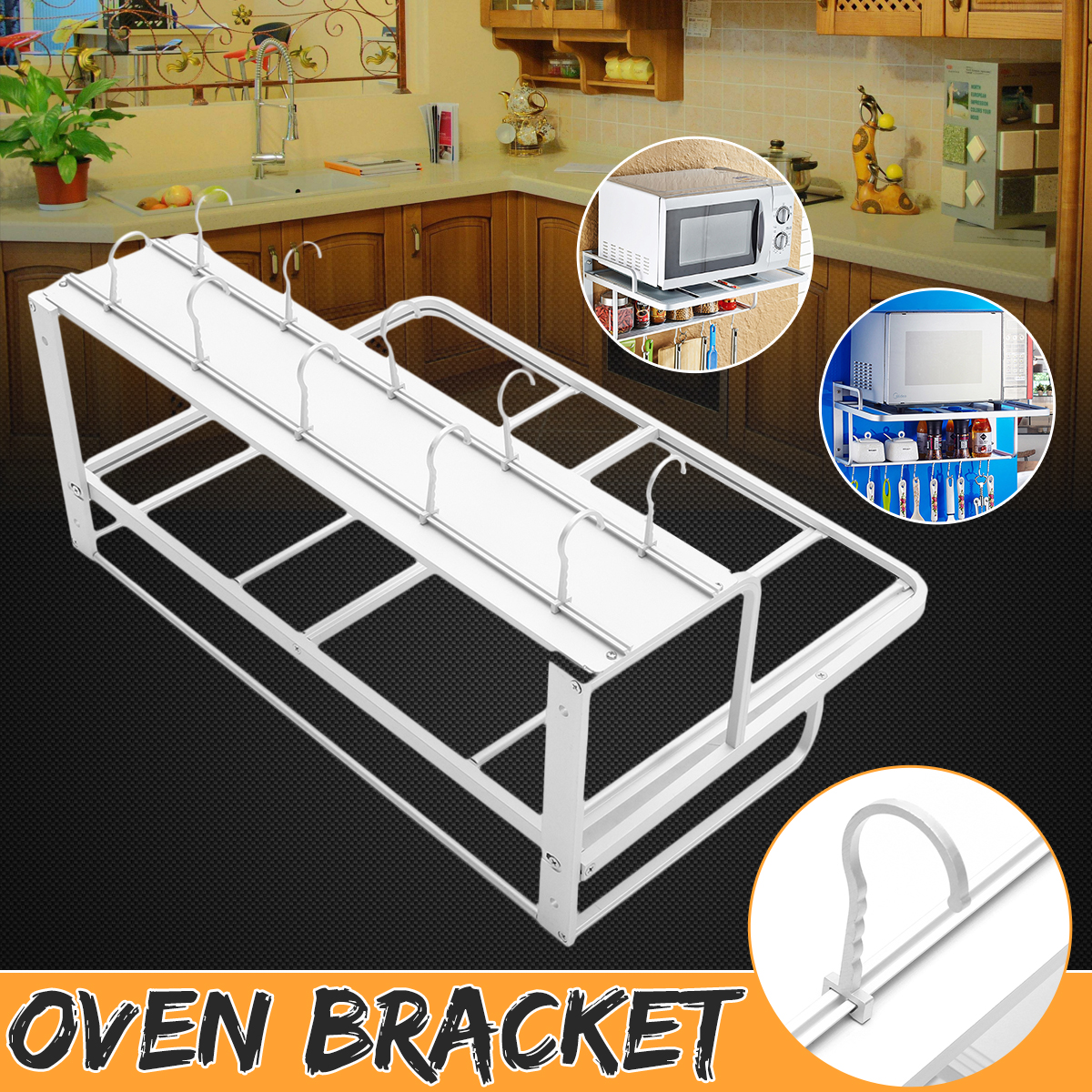 2 Tier Aluminum Microwave Holder Rack Wall Mount Bracket Kitchen Storage Rack Shelf