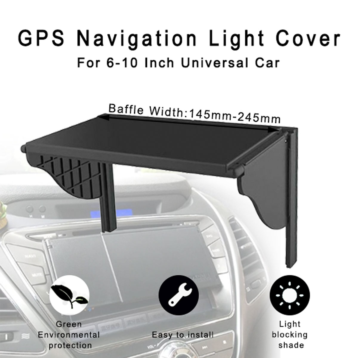 6-10 Inch Universal Car GPS Navigation Light Cover Barrier GPS Navigator Sun Visor Monitor Sunshade Hood Width 145mm-245mm