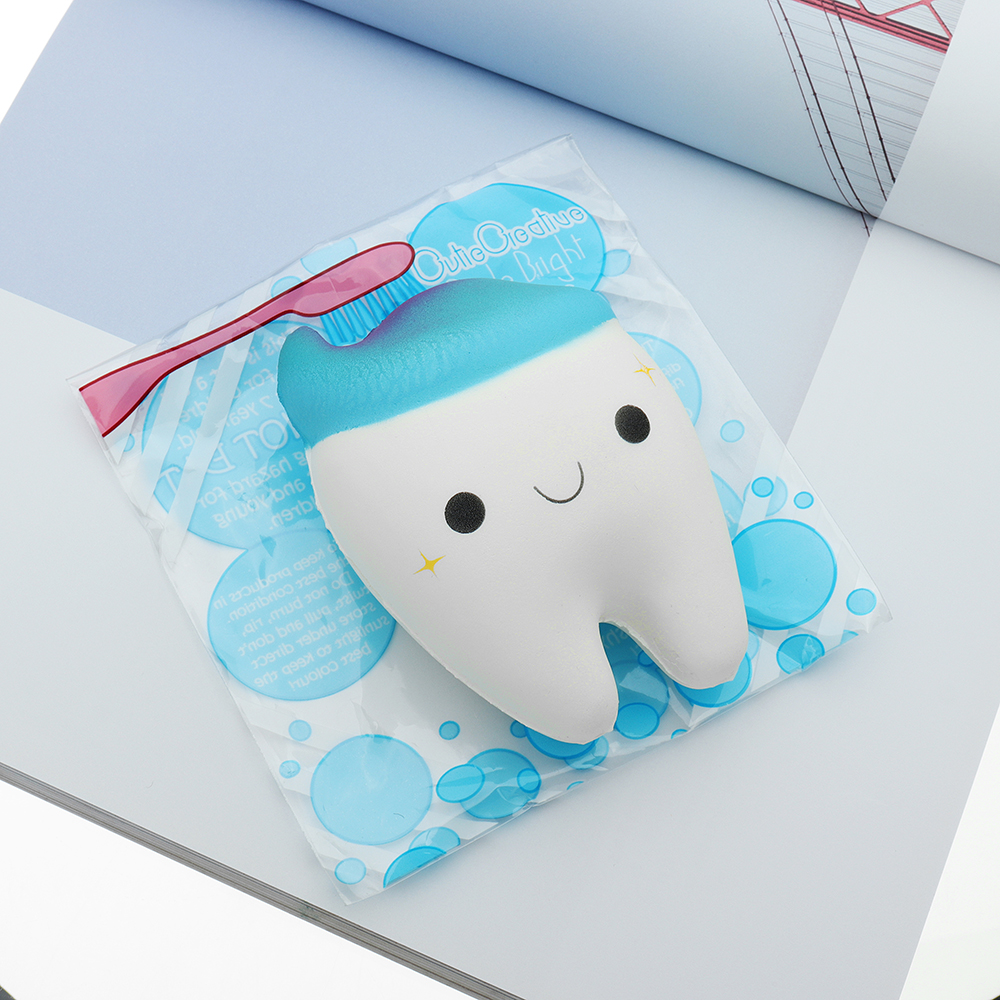 Cutie Creative Cute Teeth Squishy 11cm Slow Rising Original Packing Ball Chain Toy