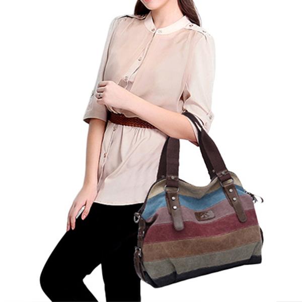 Women Casual Stripe Canvas Handbags Micro-Fibric Leather Sho
