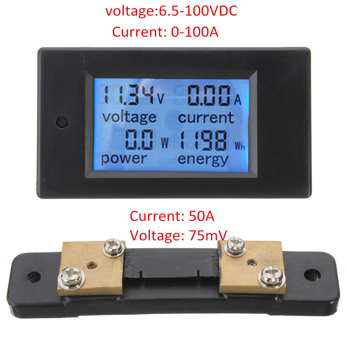 Excellway® 100A DC Digital Multifunction Power Meter Energy Monitor Module Volt Meterr Ammeter With 50A Shunt