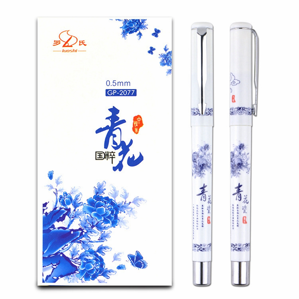 12 pcs Retro Chinese Style Gel Pen Blue and White Porcelain Stationery Office School Supplies