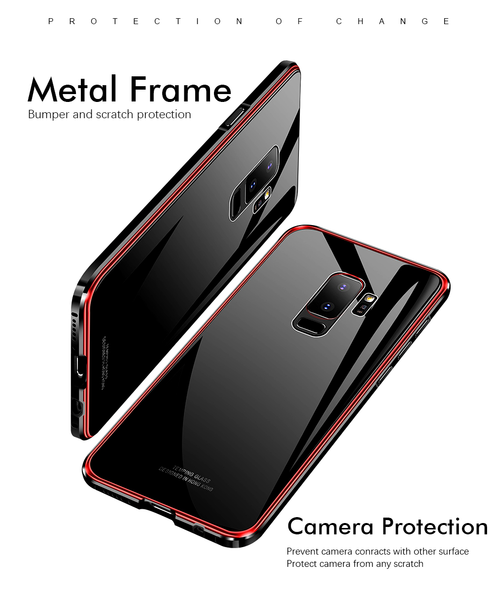 Bakeey Metal+Tempered Glass Front & Back Cover Scratch Resistant Protective Case For Samsung Galaxy S9/S9 Plus