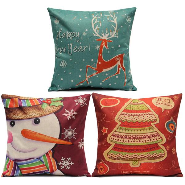 Christmas Series Linen Cotton Throw Pillow Case Sofa Car Cushion Cover Home Decoration