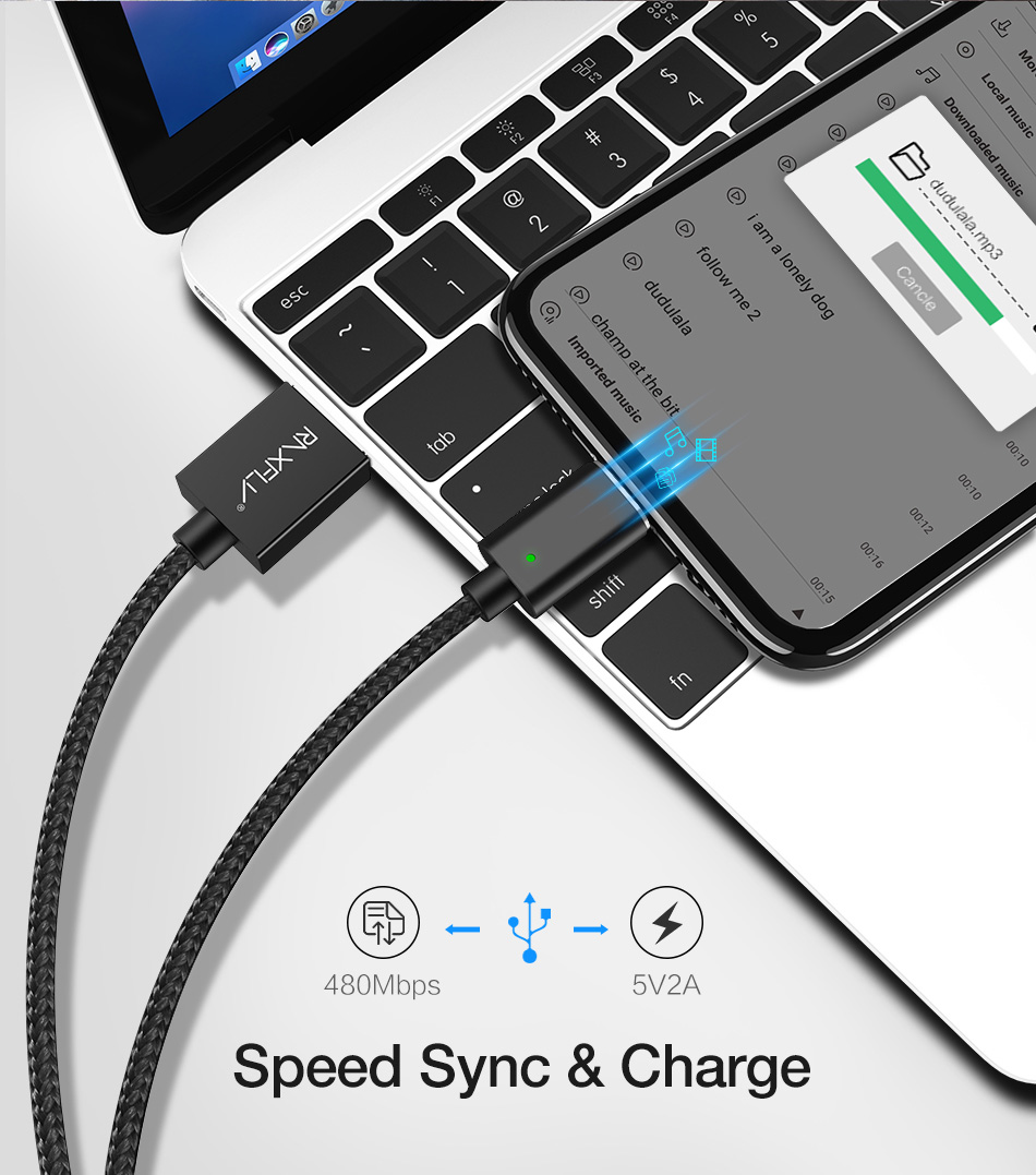 RAXFLY 2.4A Magnetic Type C Braided Charging Data Cable 1M For Onplus 6 5t Xiaomi Mi8 Mi A1 S9