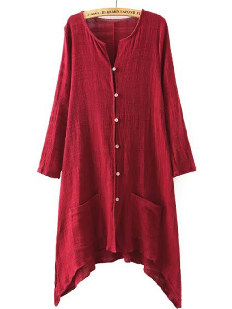 Vintage Women Solid Color Chinese Style Linen Cotton Cardigans