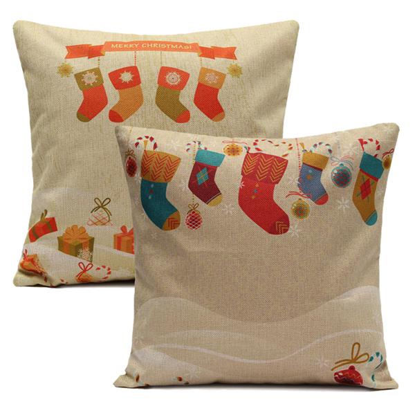 Christmas Socks Throw Pillow Cases Home Sofa Square Cushion Cover