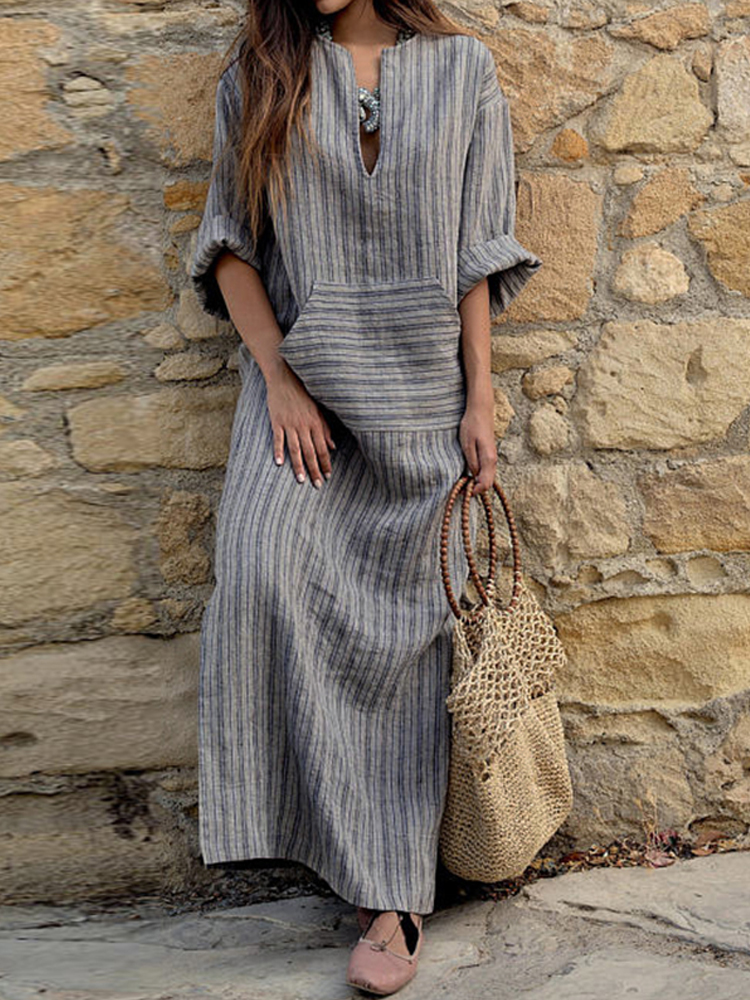 Women Striped V Neck Long Sleeve Casual Loose Maxi Dress