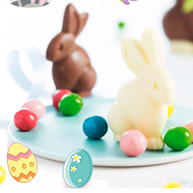 Creative 3D Easter Bunny Rabbit Plastic Chocolate Mold Cute Shoe Candy Mold Sugar Paste Baking Mold Cake Decorating Tools DIY Baking Tool