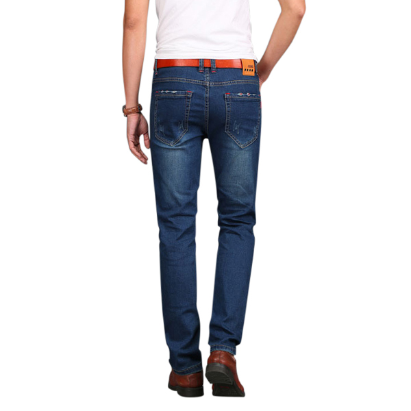 Mens Big Size Elastic Cotton Mid-rise Jeans Fashion Casual Straight Legs Denim Pants