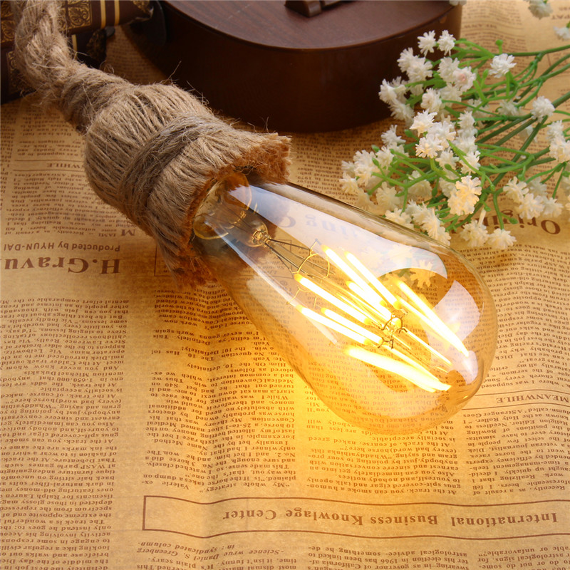 E27 1M Single Head Industrial Pendant Retro Vintage Edison Rope Ceiling Lamp Holder