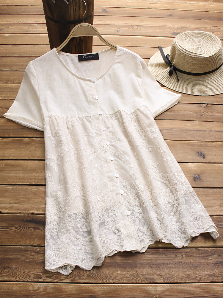 Cotton Embroidery Patchwork Buckle Blouse