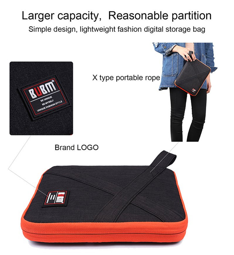 BUBM Medium Size Single Layer Waterproof Digital Accessory Storage Bag Earphone Cable Collction Bag