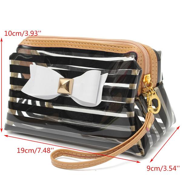 Stripe Transparent Cosmetic Bag Travel PVC Bow Tie Make Up Organizer Case