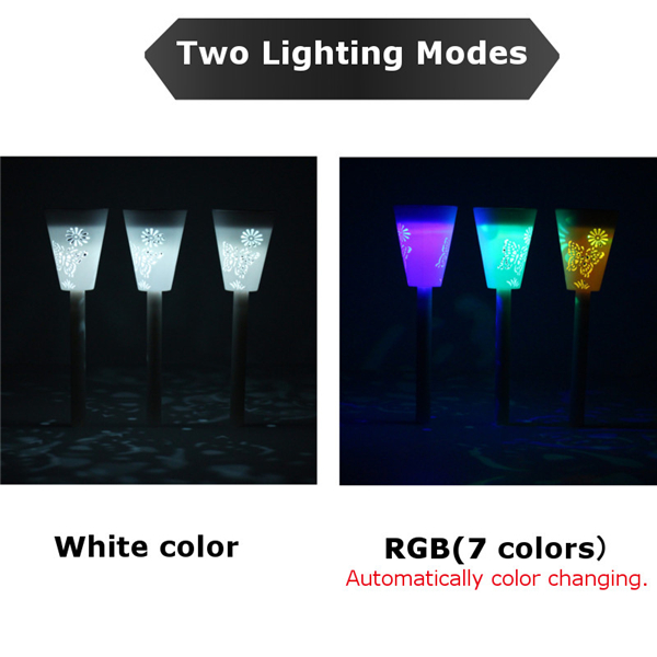 3pcs Solar Powered RGB Light Control Dimmable LED Night Light Outdoor Landscape Garden Lamp