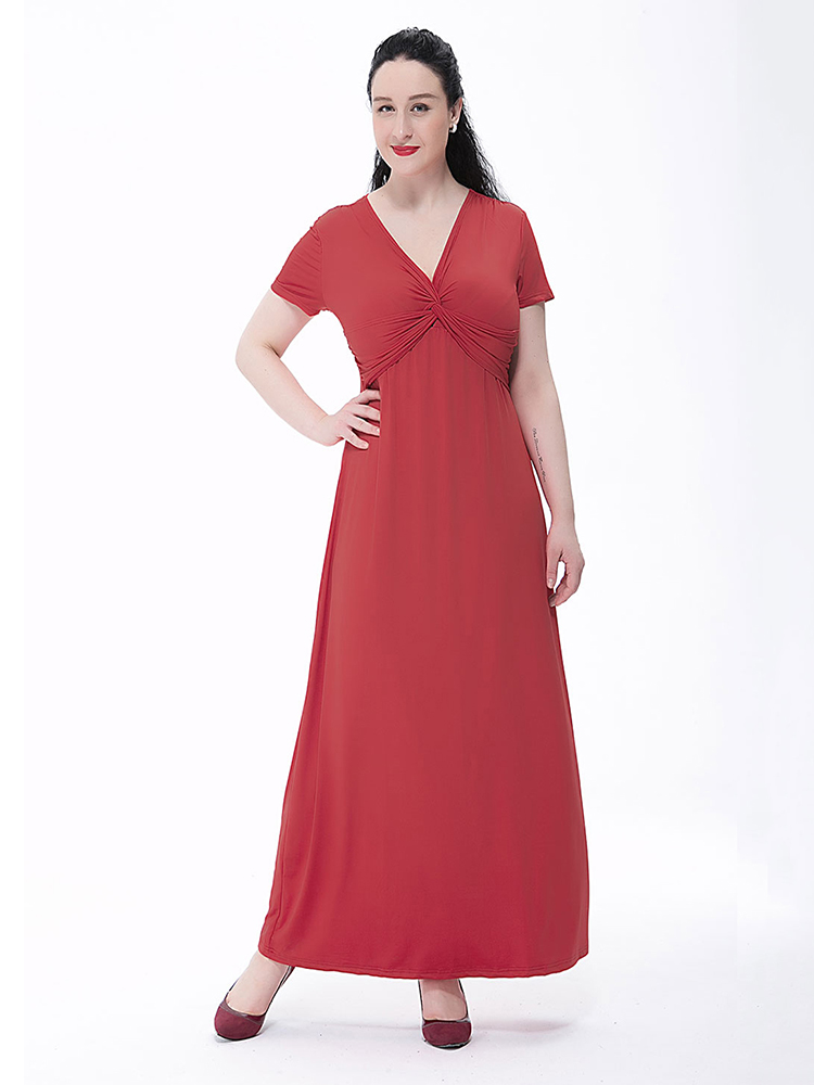 L-6XL Elegant Women Pure Color V Neck Gown Wrap Maxi Dress