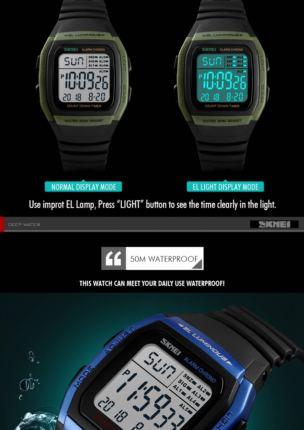 SKMEI 1278 50m Waterproof LED Date Luminous Digital Watch