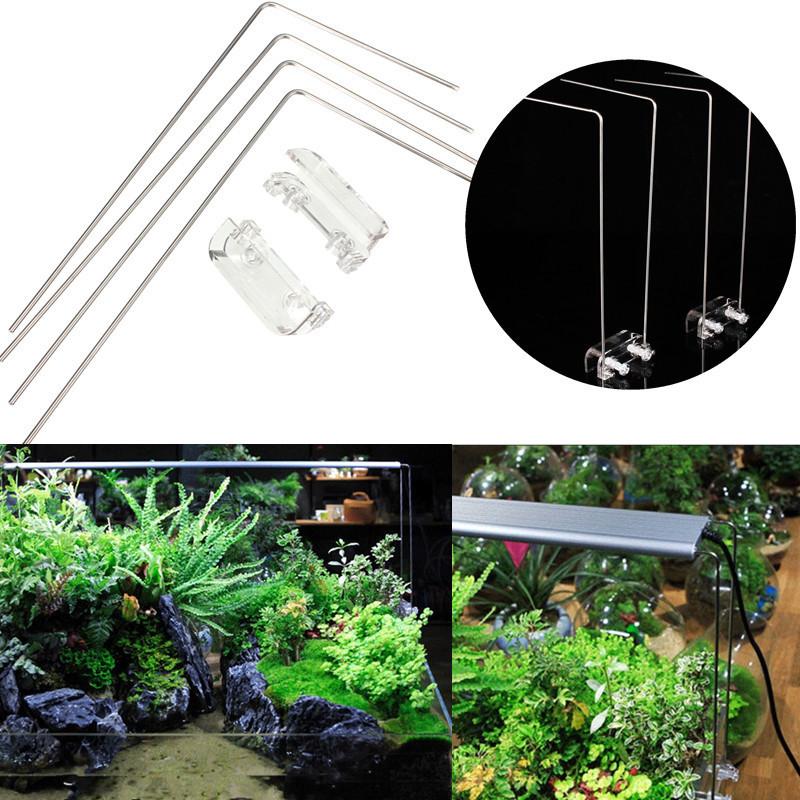 4PCS Stainless Steel Aquarium Stand For Aquatic High LED Light Lamp Fish Tank Holder Bracket Support