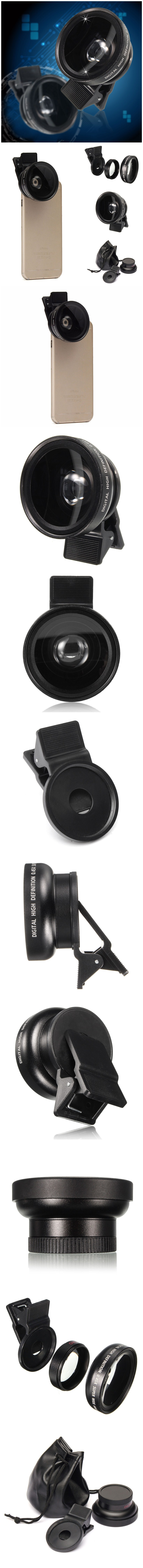 Universal 0.45X Wide Angle 12.5X Macro HD 2 in 1 Camera Lens For iPhone Mobile Phones