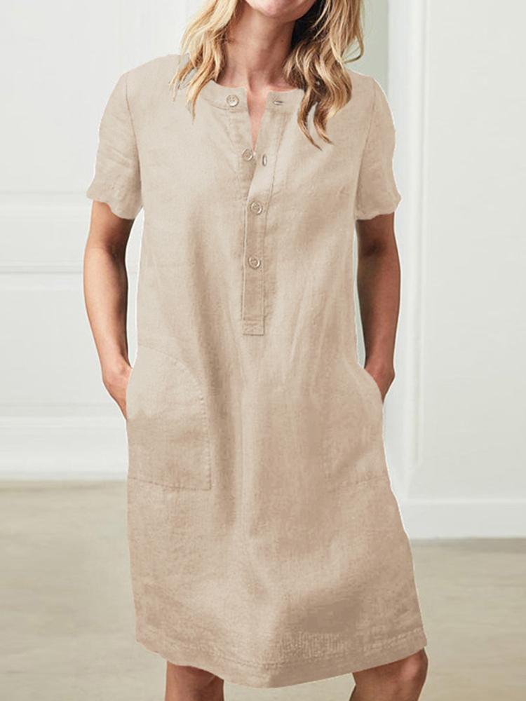 Women Loose Cotton Linen Short Sleeve Button Dress