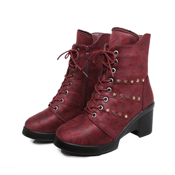 Snow Boots Women Fur Lining Keep Warm Casual Lace Up Cotton Shoes
