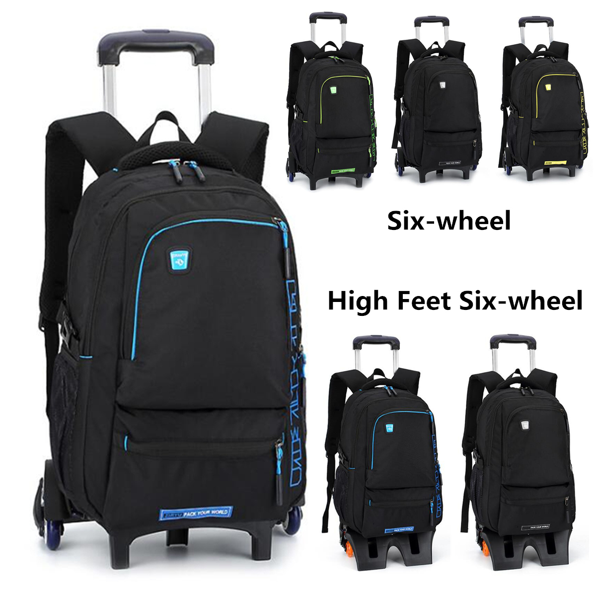 27L High Feet Detachable Trolley Backpack Student School Bags Luggage Men Kids Boys