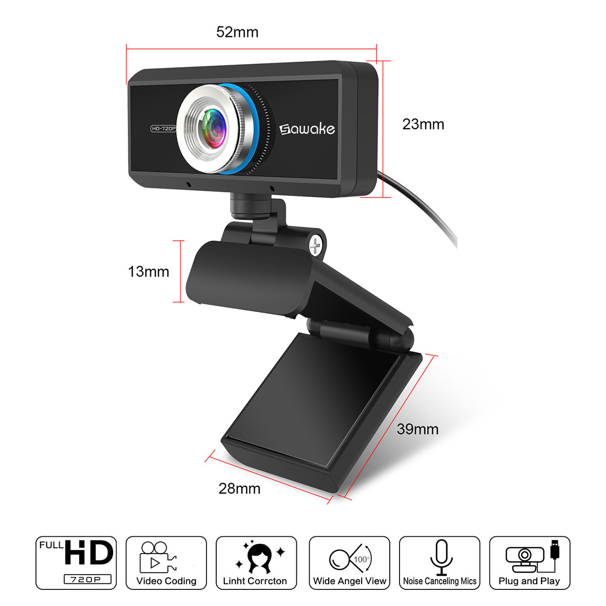 Sawake 720P HD Webcam Computer Camera with Built-in Mic 13