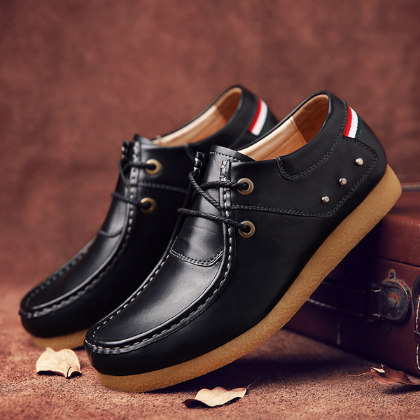 Soft Leather High Top Lace Up Oxfords Breathable Business Formal Shoes