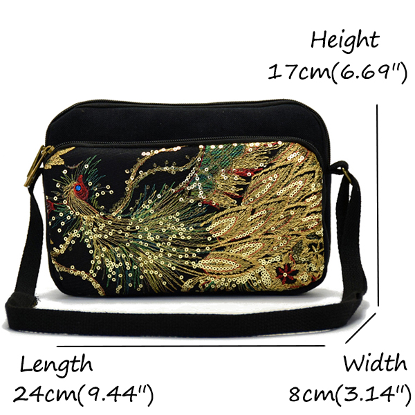 Women National Embroider Peacock Canvas Sling Bag Shoulder Crossbody Bag