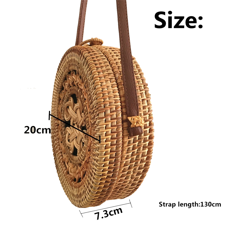 20 x 6cm Round Straw Bag Handbags Handmade Woven Beach Camping Travel Crossbody Bag