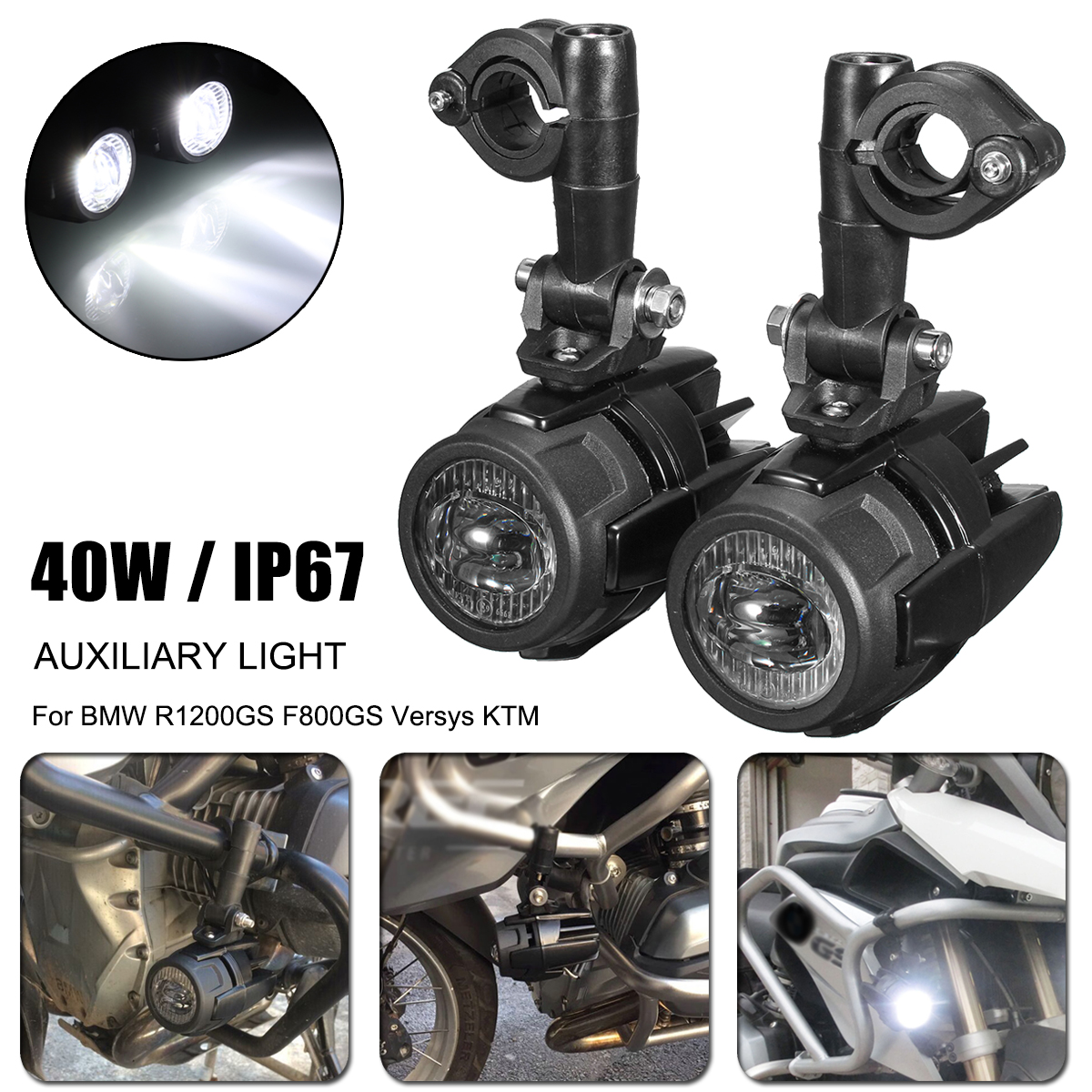 Motorcycle LED Auxiliary Fog Light Aluminum Alloy Safety Driving Spot Lamp For BMW R1200GS ADV F800G