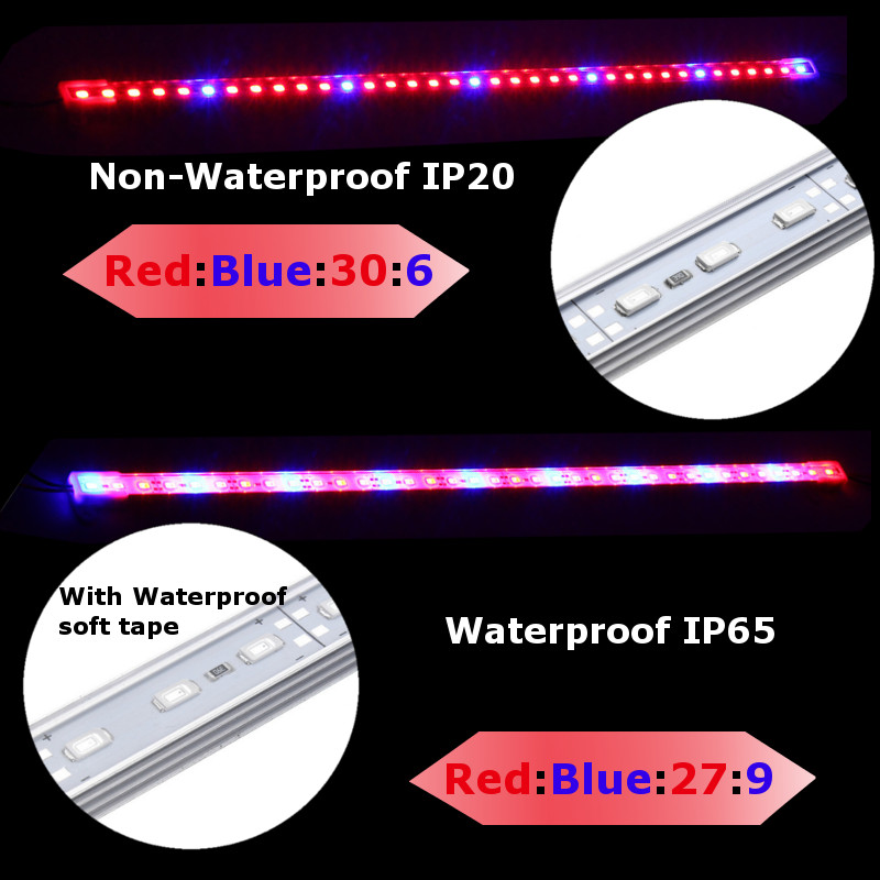 50CM SMD5630 Hydroponic Indoor Outdoor Veg Flower Plant LED Grow Light Bar Rigid Strip Lamp DC12V